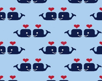 Oh Say Can You Sea in Whales in Love MARINA by Jack and Lulu for Dear Stella- 1/2 Yard