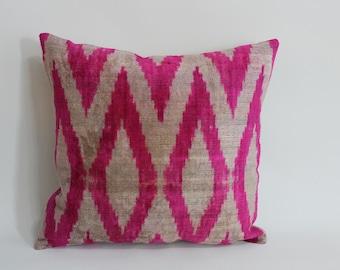Pink Ikat Velvet Pillow - 14'' x 16'' Pink Zigzag Pillow Accent Sofa Pillows Ikat Lumbar Pillow Cover Velvet Pillow Cover Chevron Pillow