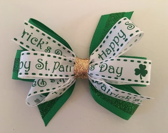 St. Patrick's Day Hair Bow St. Patrick's Bow Green and White St. Patrick's Bow Small  St. Patrick's Bow Green and Gold Shamrock Bow for Baby