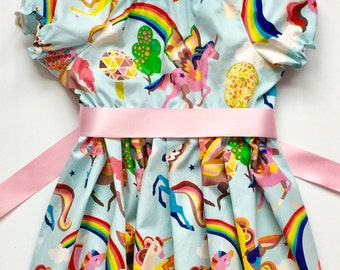 Unicorn dress, baby dress, toddler dress, birthday dresses, girls dress, spring dress, unicorn outfit, shower gift, pegasus dress, rainbow
