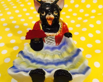 Patent TT Double Nodder Cat Ashtray or Trinket Dish with a Fan in a Dress made in Japan circa 1950s
