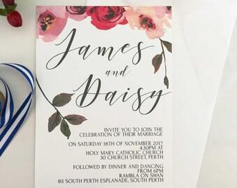 Spring Wedding Invitation, Flower Wedding Invitation, Floral Wedding Invitation, Romantic Wedding Invitation, Boho Wedding, Boho Invitation