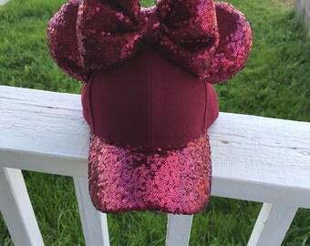 Burgundy Minnie Mouse ears