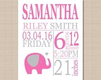 Elephant Birth Print,Pink Gray Elephant  Birth Print,Elephant Birth Announcement,Pink Gray Elephant Nursery Wall Art- 8X10 DIGITAL OR PRINT