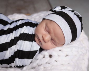 Black and White Striped Newborn Swaddle Set | Black & White Striped Baby Receiving Blanket | Soft Swaddle Blanket, Hat, Headband
