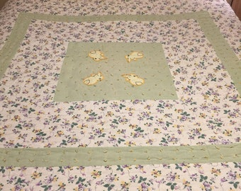 Vintage hand tied embroidered feedsack bunny quilt