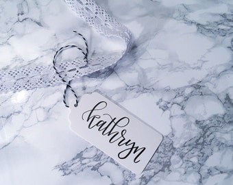 White Scalloped Gift Tags | Hand Lettered