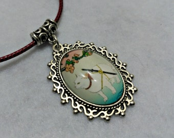 Samurai cat necklace, cameo pendant