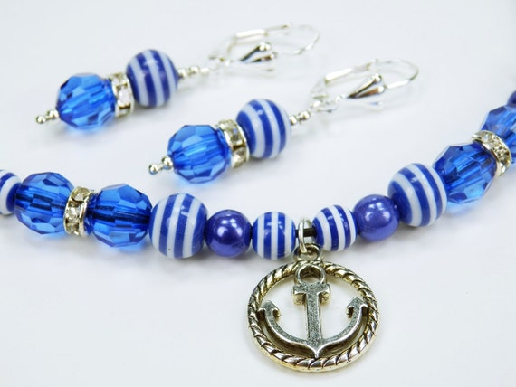 Earrings-necklace set with blue beads and anchor silver Pendant earrings Jewelry maritim blue white seafaring jewelery home port