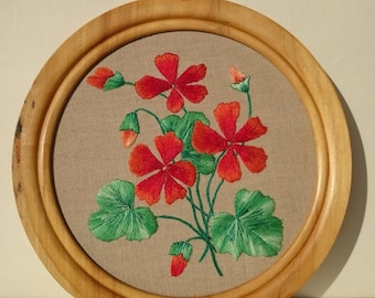 Home Decor Primitive Flowers / Hand Embroidered Orange Flowers in Wooden Frame / Rustic Decor Embroidery Orange Flowers