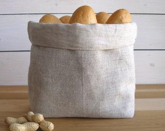 Bread linen basket, Bread basket, Natural Linen, Storage basket, Linen basket