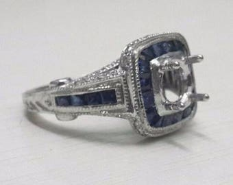 14K white gold Round semi mount blue sapphire REAL diamond engagement ring best