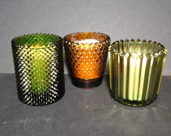 3 70s Glass Votive Holders, Olive Green and Gold Small Glass Tea Light Holders