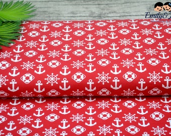 Jersey Anchor Ahoi! red white maritim fabric
