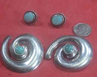 H-18 Vintage Earrings 2 sets sterling silver