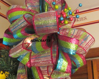 Pink Green and Blue Tree Topper Bow Pink Green and Blue Stripe Christmas Tree Topper Bow  Holiday Tree Topper Bow Stripe Wired Ribbon Bow