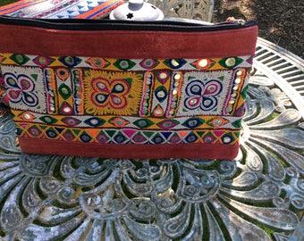 Boho handmade embroidered gypsy/hippie leather edged Clutch bag