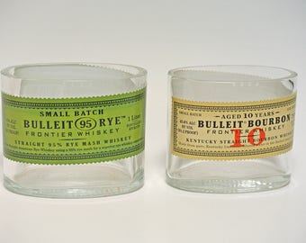 Bulleit Whiskey Bottle Cut and Polished / Glass Container / Planter Candy Dish Vase / Ashtray / Whiskey Bottle Garden / Candle Supplies