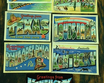 Greetings From -------- souvenir postcards