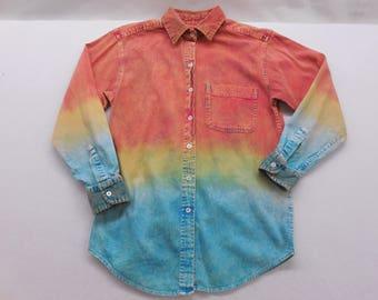 Mens  Vintage Tie Dye Denim Corduroy Trim Button Up Shirt M