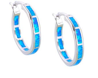 Opal Earrings 14K White Gold Filled