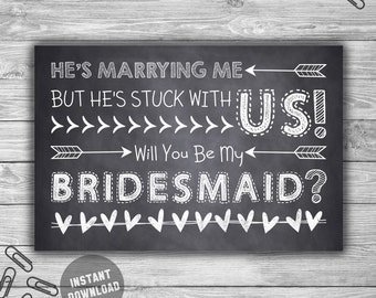 Be My Bridesmaid - Request - Card - PRINTABLE - INSTANT DOWNLOAD - Chalkboard - Style - Will You Be My Bridesmsaid - Card - Q1 24