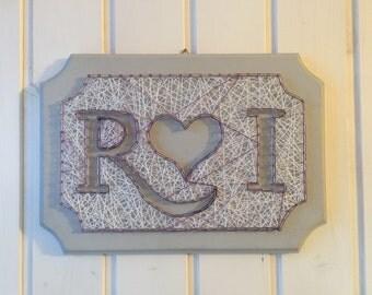 Name initials string art