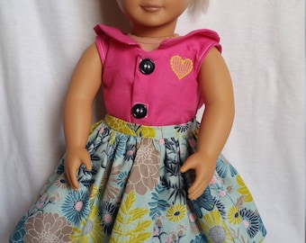 American Girl Pink Top w/ Blue Skirt
