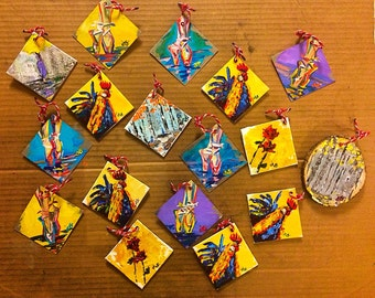 "Hand-Painted Miniatures - Various Designs 3""x3"" – Art Orginal Acrylic Painting – Each Hand-Painted by Jacob Secrest"