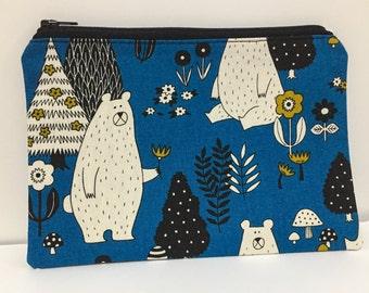 Zipper Pouch, Pencil Case, Make Up, Gift,Teacher Gift, Teen gift, Woodland animals, New Mum Gift, Nappy Bag, Organiser, Cosmetic bag
