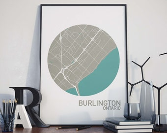 Burlington, Ontario City Map Print
