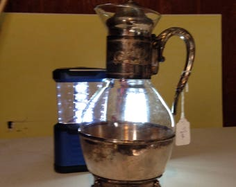Standing glass and silver plate beverage holder