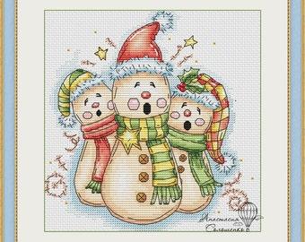 Cross-stitch scheme  Christmas showmen Embroidery pattern PDF