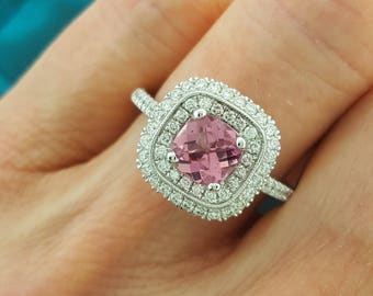 14k White Gold Pink Tourmaline Ring with Diamonds