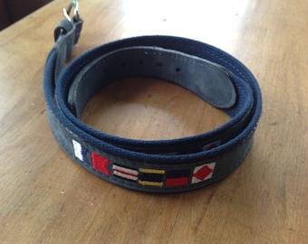 Nautical flags, belt, leather navy, Zeppelin, nautical belt, blue leather