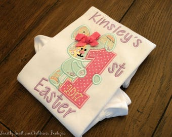 my first Easter applique shirt- personalized baby Easter shirt- custom my first Easter onesie