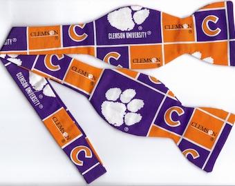 Clemson University Self-tie Bow Tie (Blocks) | Clemson bow ties | College bow ties | Clemson Tigers | ties for men | Wedding ties | Orange