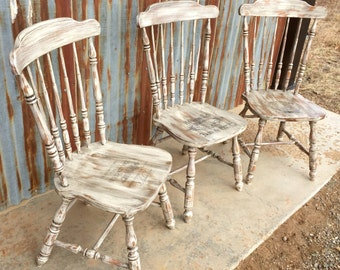 Set of Four Primitive Chairs Farmhouse Chairs Distressed Chair Wedding Chairs Weathered Chair Pair Chairs Vintage Chair RustiqueReInVintage