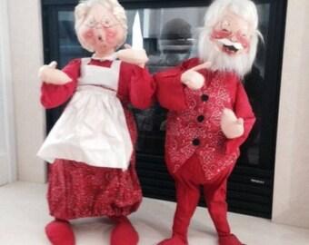 "Annalee Christmas Santa Claus & Mrs. Claus Vintage 1971 Dolls 27"" Tall"