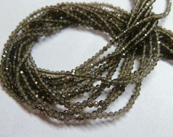 """Natural Smoky Faceted Rondelle Beads, 2 MM Size, 13"""" Strand AAA High Quality, Smoky Rondelles"""