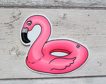 Flamingo Pool Float, Gloss Vinyl Sticker, Laptop Stickers, Cute Stickers, Tropical Birds, Beach, Illustration, Pink, Sticker Pack, Summer