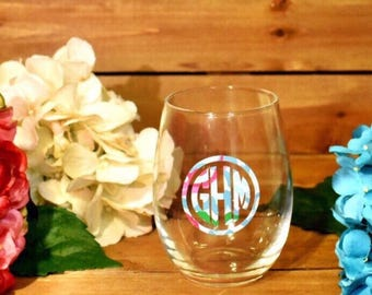 Monogram Wine Glass, Bridesmaid Gift, Wedding Party Gift, Girls Nite, 21st Birthday Gift, Party Favors, Bachelorette Party