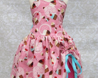 Girls Custom Pink Cupcake Birthday Party Outfit Pageant Dress
