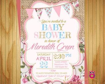 Baby Shower Floral Invitation - Spring - Flower - Shabby Chic - Baby Girl - Baby Shower Invitation - Printable Invite - Digital File