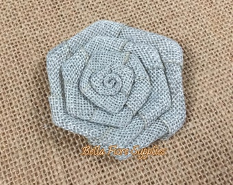 Gray Burlap Rolled Rosette Flowers, Silver Burlap Flower- 3 inch Rosette, Burlap Flowers, Wedding Supply, Burlap Rose