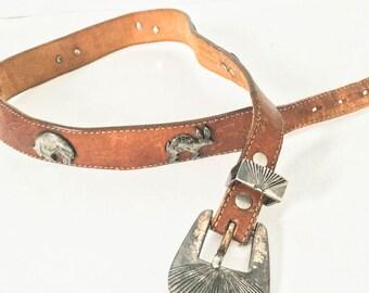 Leather belt - Decorative western belt - Brown leather belt animal conchos - Southwestern belt - Distressed leather belt