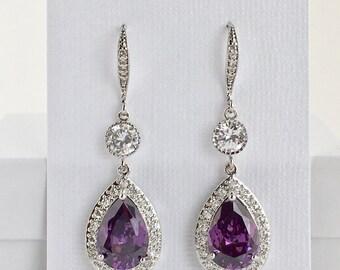 Amethyst Bridal Earrings Amethyst Crystal Earrings Purple Cubic Zirconia Earrings Purple Crystal Wedding Jewelry Purple Amethyst Earrings