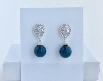 Dark Blue Pearl Earrings Navy Blue Bridal Earrings Dark Blue Swarovski Pearl Earrings Dark Blue Bridesmaid Jewelry Blue Pearl Bridal Jewelry
