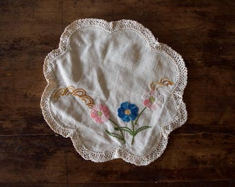 Hand-embroidered Doily