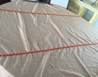 Orange gingham tablecloth with orange rick-rac trim! Free shipping!